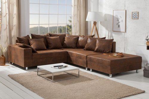 sofa narożna LOFT 220 cm brązowa poduszki i podnóżek w zestawi