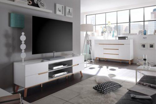 Komoda TV CERVO 170 cm styl Skandynawski biała
