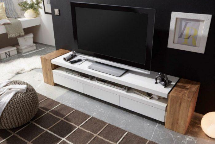 Nowoczesna komoda TV JULE II 200 cm biały matowy dąb