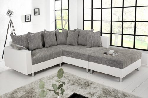 Nowoczesna sofa narożna LOFT 220 cm szaro-biała z podnóżkiem i poduszkami