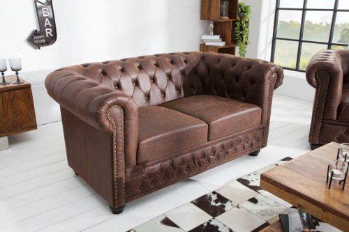Sofa Chesterfield 2-osobowa 150 cm vintage brązowy z przeszyciami