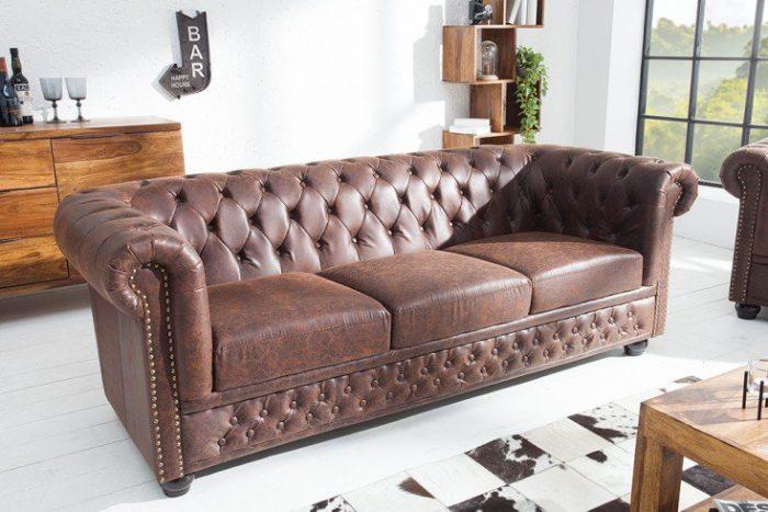 Sofa Chesterfield 3-osobowa 200 cm vintage brązowy z przeszyciami