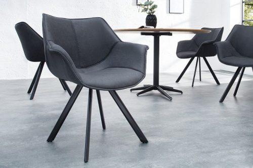 Krzesło designerskie MR. LOUNGER szare z podłokietnikiem