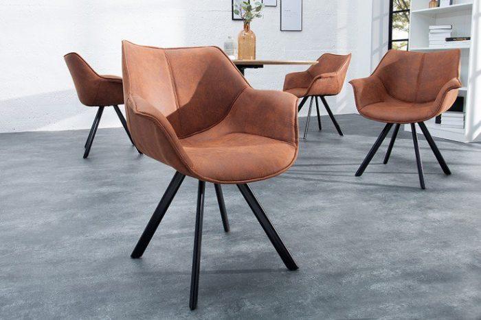 Krzesło THE DUTCH RETRO antyczny brąz z podłokietnikiem