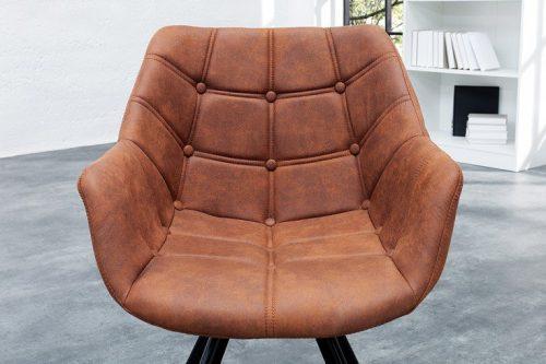 Krzesło retro THE DUTCH antyczny brąz z ozdobnymi przeszyciami