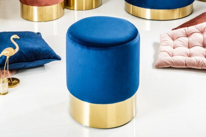 Pufa Modern Barock 35 cm niebieska aksamit ekskluzywna