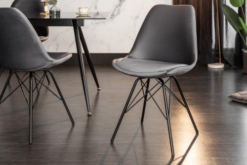 Krzesło nowoczesne SCANDINAVIA  aksamitne szare czarne nogi