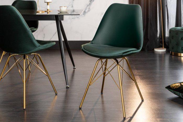 Krzesło designerskie SCANDINAVIA aksamitne ciemnozielone złote nogi