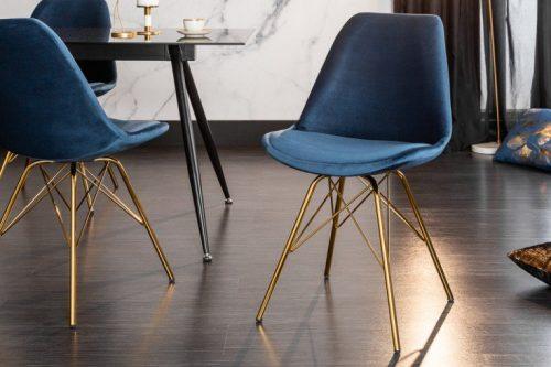 Krzesło nowoczesne SCANDINAVIA MASTER PIECE aksamitne ciemnoniebieskie złote nogi