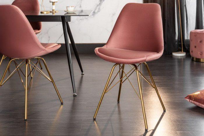 Krzesło designerskie SCANDINAVIA aksamitne różowe złote nogi
