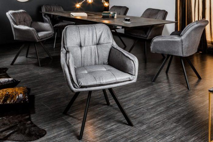 Krzesło obrotowe MR. LOUNGER szary z podłokietnikiem