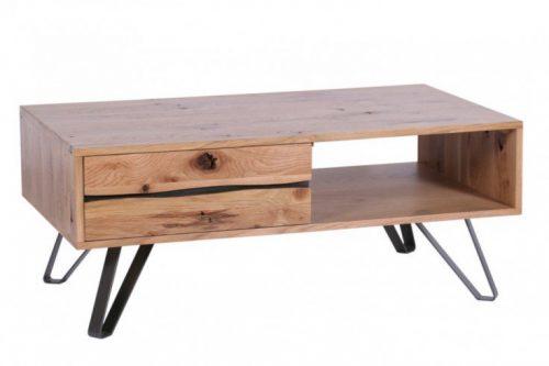 Masywny stolik kawowy LIVING EDGE 110cm wzór przemysłowy