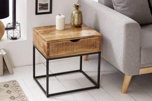 Przemysłowy stolik nocny IRON CRAFT 45 cm drewno mango