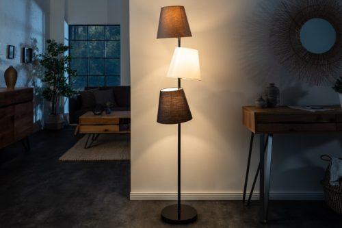 lampa podłogowa POZIOMY 163cm czarno-szara 3 lniane klosze