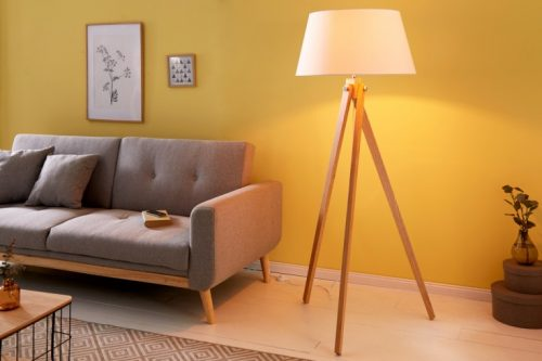 Elegancka lampa podłogowa TRIPOD 155 cm biała retro