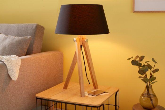 Elegancka lampa stołowa TRIPOD 64 cm czarna