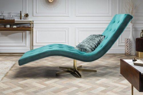 Nowoczesna leżanka szezlong tapicerowany Relaxo 165cm turkusowy