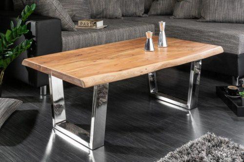 Masywny stolik kawowy MAMMUT 110 cm drewno akacjowe blat 4cm