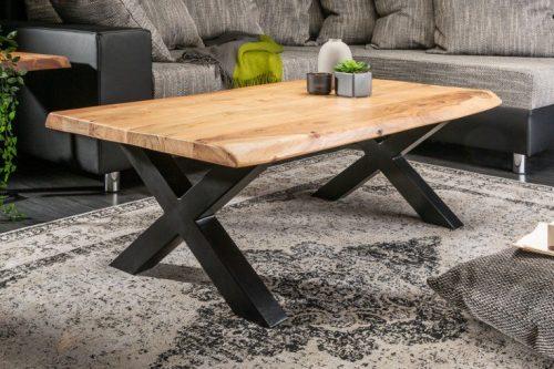 Solidny stolik kawowy MAMMUT 110 cm akacja rama X