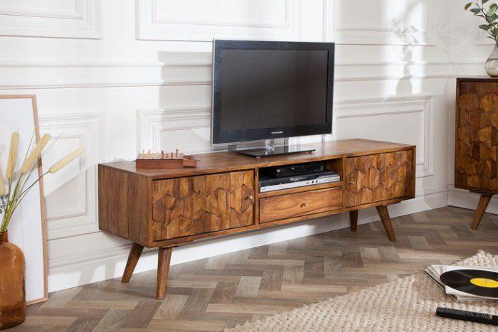 Komoda szafka RTV Mystic 140 cm lite drewno akacja