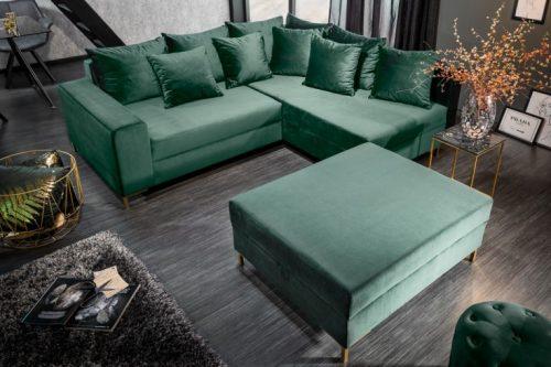 Nowoczesna sofa narożna LOFT 220 cm szmaragdowo-zielona aksamit z podnóżkiem i poduszkami