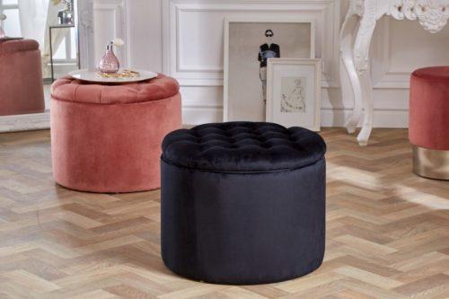 Elegancka pufa  MODERN BAROQUE 50 cm czarny aksamitny