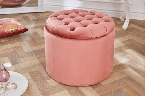 Elegancka pufa  MODERN BAROQUE 50 cm różowy aksamitny