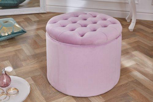 Elegancka pufa MODERN BAROQUE 50 cm liliowy aksamitny