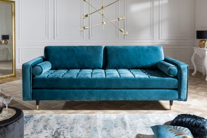 Elegancka sofa VELVET 225 cm aqua aksamitna sofa 3-osobowa