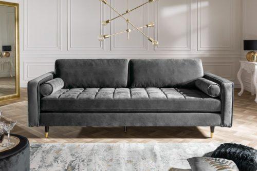 Elegancka sofa VELVET 225 cm szara aksamitna sofa 3-osobowa