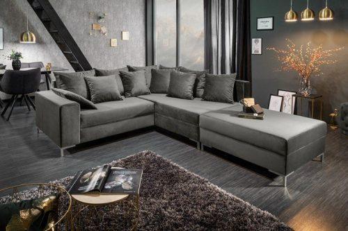 Nowoczesna sofa narożna LOFT 220 cm srebrno-szary aksamit z podnóżkiem i poduszkami