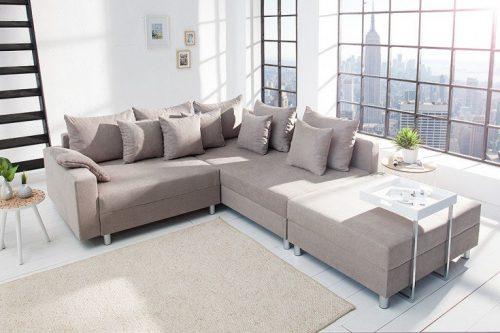 Nowoczesna sofa narożna LOFT 220 cm bawełna w zestawie poduszki i podnóżek