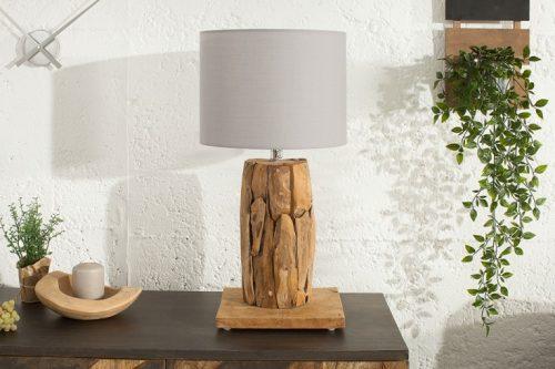 Stołowa lampa ROOTS 75cm szary abażur drewno tekowe
