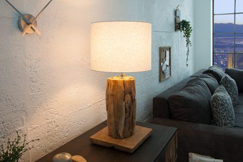 Stołowa lampa ROOTS 75cm beżowy abażur drewno tekowe