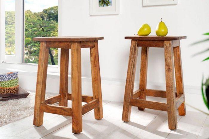 Masywny stołek JAKARTA 30 cm drewno z recyklingu