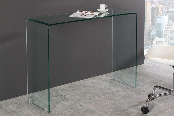 Ekstrawaganckie szklane biurko FANTOME 100 cm przezroczyste