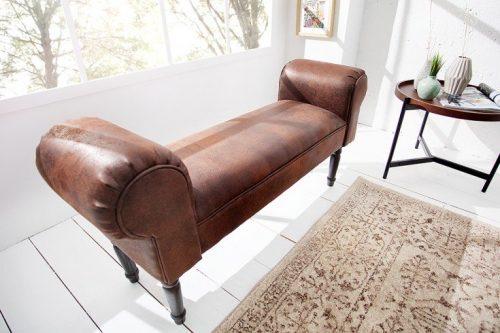 Elegancka ławka MARLON 100 cm antyczny brąz podłokietniki