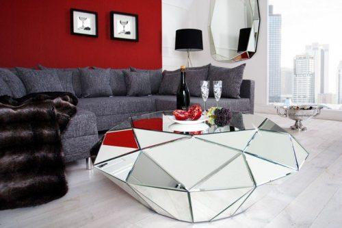 Ekstrawagancki stolik kawowy DIAMOND 115 cm lustro szklane fasetowany diament