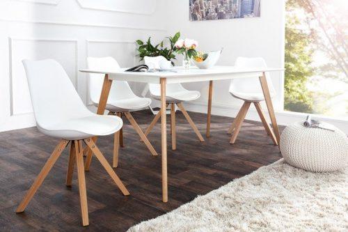 Krzesło Scandinavia  tapicerowane skóra białe