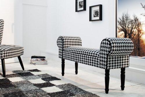Ławka retro 100 cm wzór w pepitkę czarno biała