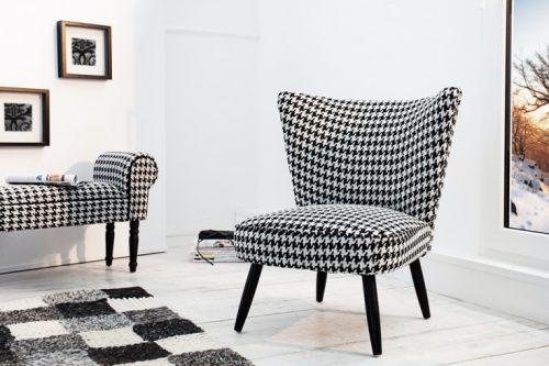 Fotel retro 70 cm czarny biały Klasyczny wzór w pepitkę