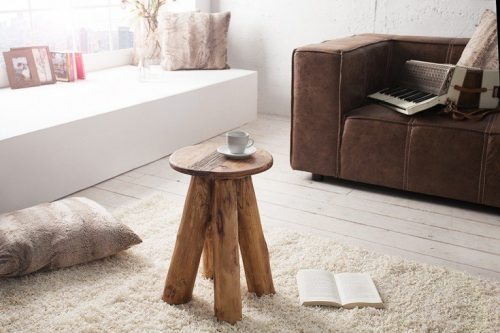 Masywny stolik boczny HEMINGWAY 30 cm drewno tekowe
