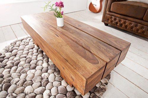Masywny Stolik kawowy BOLT  100 cm drewno Sheesham