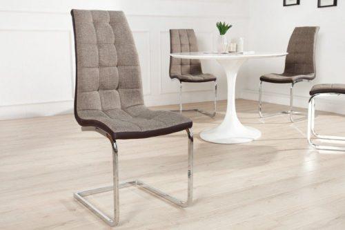 Krzesło na płozach ze stali nierdzewnej London Brązowe