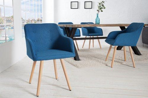 Krzesło  SCANDINAVIA MASTERPIECE niebieskie z podłokietnikiem bukowe nogi