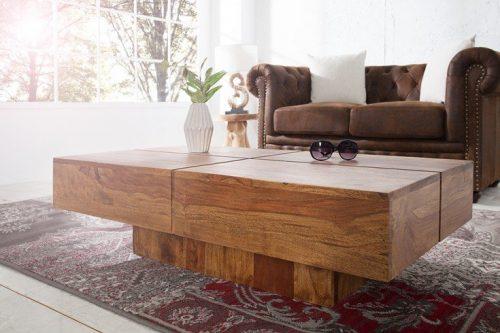 Masywny Stolik kawowy BOLT 110 cm drewno Sheesham