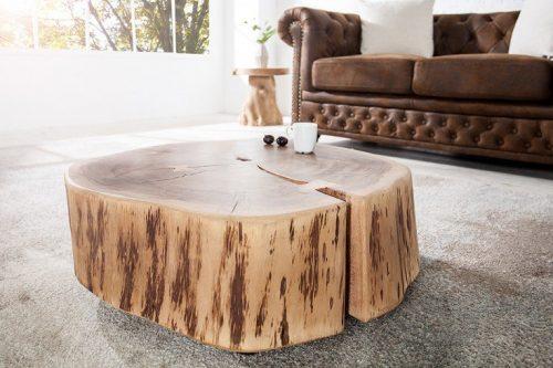 Masywny stolik kawowy GOA 60cm pień akacji naturalny