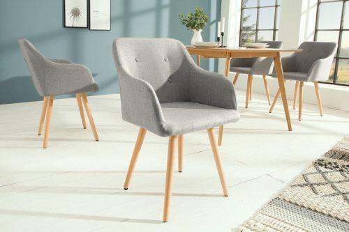 Krzesło SCANDINAVIA MASTERPIECE jasnoszare z podłokietnikiem bukowe nogi