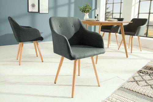 Krzesło SCANDINAVIA MASTERPIECE szare z podłokietnikiem bukowe nogi