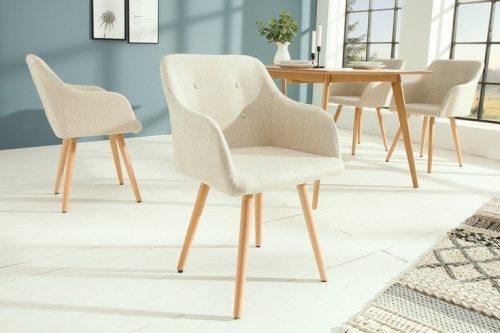 Krzesło SCANDINAVIA MASTERPIECE beżowe z podłokietnikiem bukowe nogi